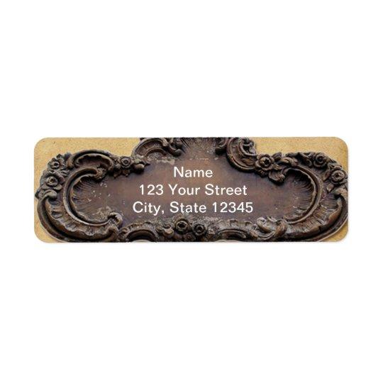 Antique Parchment and Brass Plaque Return Address Return Address Label