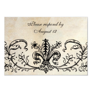 Antique Parchment Black Fleur RSVP with envelopes Card