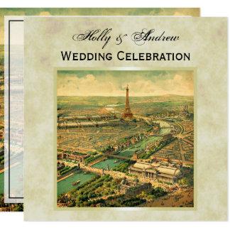 Antique Paris Distressed BG #3 SQ Wedding Card