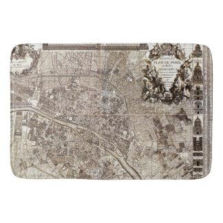 Antique Paris Map 1728 Architecture Vintage France Bathroom Mat