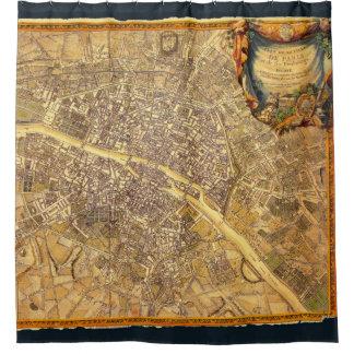 Antique Paris Map 1765 Worn Edge Vintage France