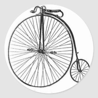 Antique Penny Farthing Bicycle Round Sticker