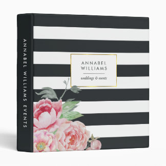 Antique Peony | Midnight Stripe Personalized Vinyl Binders