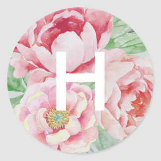 Antique Peony Monogram Classic Round Sticker