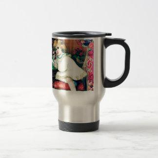 Antique Phone Girl Painting Travel Mug