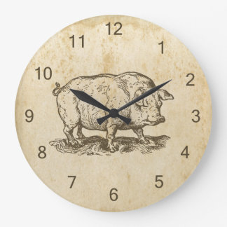 Antique Pig Large Clock