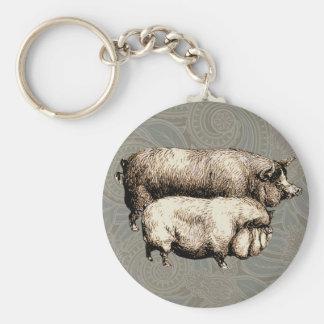 Antique Pigs Vintage piggy drawing Basic Round Button Keychain