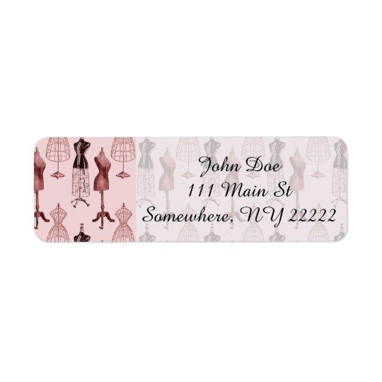 Antique Pink Dress Forms Return Address Label
