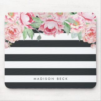 Antique Pink Peony & Charcoal Stripe Mouse Pad