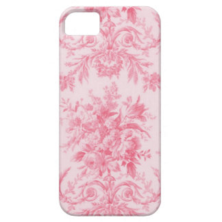 Antique Pink Rose and White Toile iPhone 5 Cover