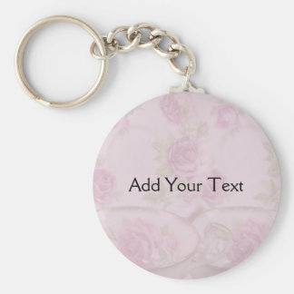 Antique Pink Rose Tea Cup on Mauve Basic Round Button Keychain