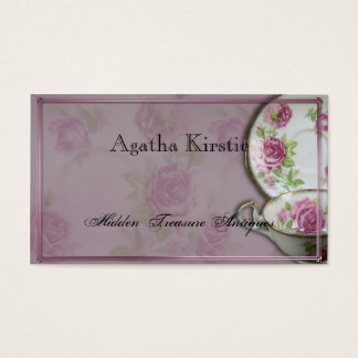 Antique Pink Rose Tea Cup on Mauve Business Card