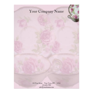 Antique Pink Rose Tea Cup on Mauve Letterhead