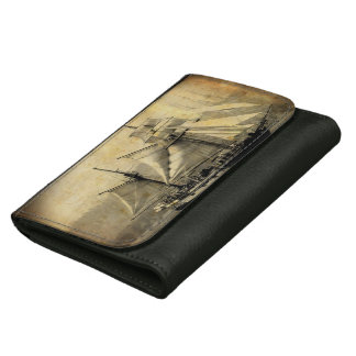 Antique Pirate ship Black Medium Leather Wallet