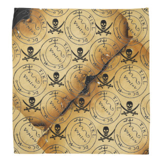 ANTIQUE PIRATES TREASURE PARCHMENT,SKULL , SWORDS BANDANA