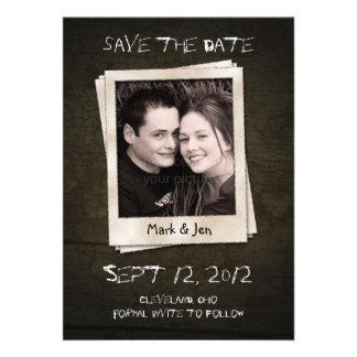 Antique Polaroid Unique Save The Date Announcement Personalized Invite