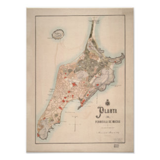 Antique Portugese Map of Macau 1889 Poster