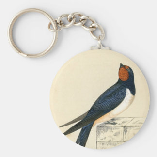 Antique Print of a Swallow Keychain