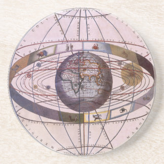 Antique Ptolemaic Solar System, Andreas Cellarius Coaster