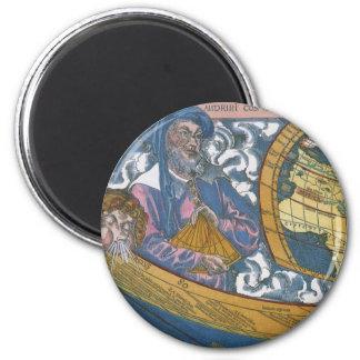 Antique Ptolemaic World Map; Claudius Ptolemy 2 Inch Round Magnet