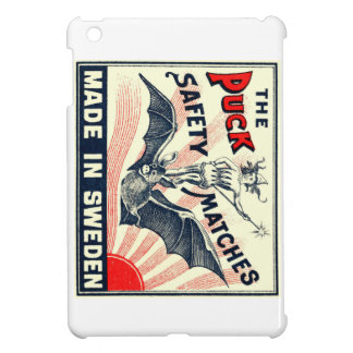 Antique Puck Riding Bat Swedish Matchbox Label iPad Mini Case