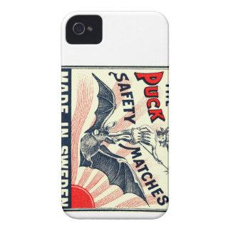 Antique Puck Riding Bat Swedish Matchbox Label iPhone 4 Case-Mate Case