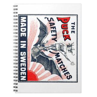 Antique Puck Riding Bat Swedish Matchbox Label Notebooks