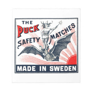 Antique Puck Riding Bat Swedish Matchbox Label Notepad
