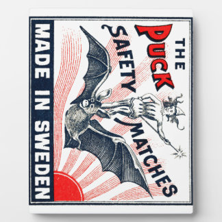 Antique Puck Riding Bat Swedish Matchbox Label Plaque