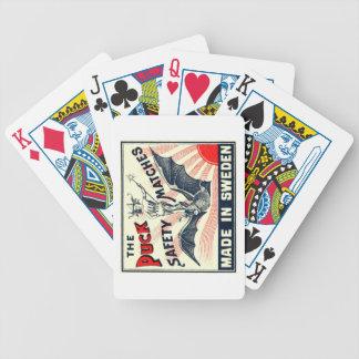 Antique Puck Riding Bat Swedish Matchbox Label Poker Deck
