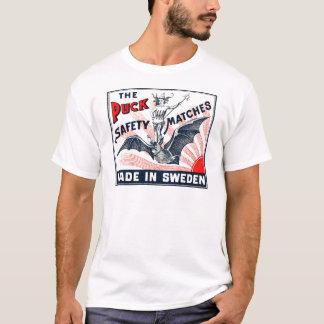 Antique Puck Riding Bat Swedish Matchbox Label T-Shirt