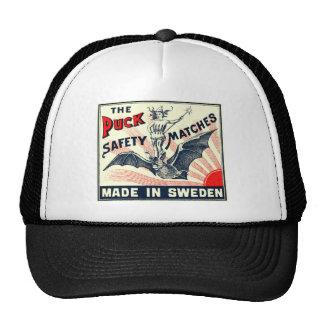 Antique Puck Riding Bat Swedish Matchbox Label Trucker Hat