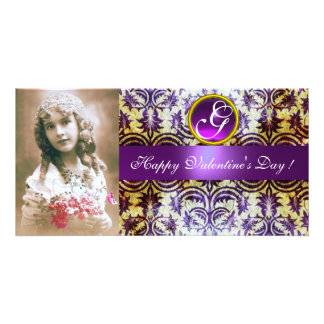 ANTIQUE PURPLE DAMASK Amethyst Monogram Photo Card Template