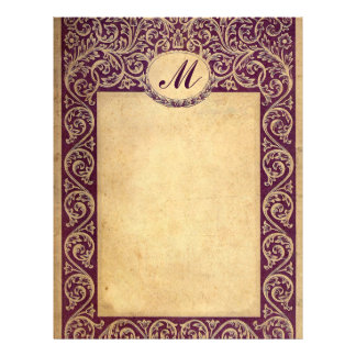 Antique Purple Monogram Paper
