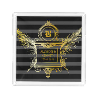 Antique Quill Feathers Classic Gold Frame Monogram Acrylic Tray
