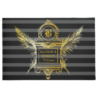 Antique Quill Feathers Classic Gold Frame Monogram Doormat