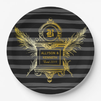 Antique Quill Feathers Classic Gold Frame Monogram Paper Plate