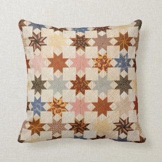 Antique Quilt Photograph   LeMoyne Star Pattern Throw Pillow