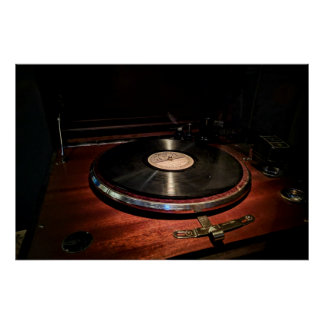 Antique Record Player Poster