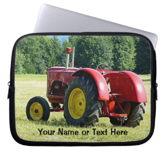 Antique Red and Yellow Tractor in Field Laptop Sleeve