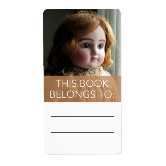 Antique Red Head Doll Bookplate Sticker Shipping Label