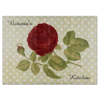Antique Red Rose Parchment Polka Dots Boards