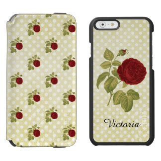 Antique Red Rose Parchment Polka Dots Personalized Incipio Watson™ iPhone 6 Wallet Case