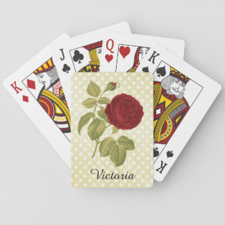 Antique Red Rose Parchment Polka Dots Personalized Playing Cards