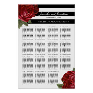Antique Red Roses and Black Stripes Seating Chart Poster