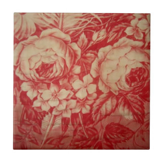 Antique Red Toile Ceramic Tiles