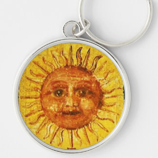ANTIQUE RENAISSANCE TAROTS 19 /THE SUN Silver-Colored ROUND KEYCHAIN
