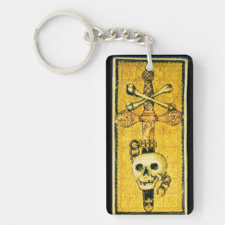 ANTIQUE RENAISSANCE TAROTS ,ACE OF SWORDS KEYCHAIN