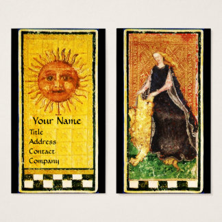 ANTIQUE RENAISSANCE TAROTS  SUN,FORTITUDE STRENGHT BUSINESS CARD