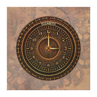 Antique Retro Steampunk Rusty Art Deco Clock Canvas Print